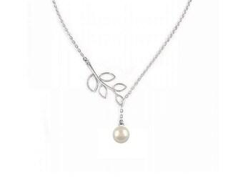 Pearl Lariat , Swarovski Pearl Lariat  Necklace , Silver Filigree Leaves , Silver Branch Lariat