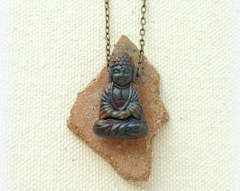 Unearthed buddha necklace mens necklace spiritual jewelry buddhism jewelry yoga jewelry buddha jewelry