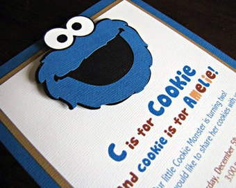Cookie Monster Party Invitations, Cookie Monster Birthday Invite, Cookie Monster Party, Cookie Monster Invitation, Sesame Street, Set of 12