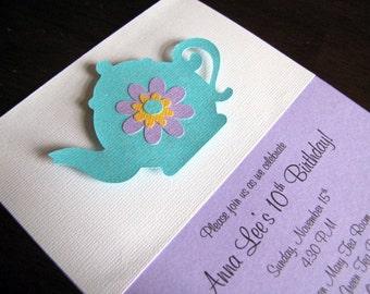 Tea Party Invitations, Teapot Invitations, Tea Party Baby Shower, Tea Party Birthday Invitation, Tea Shower Invitation, Teapot, Set of 12