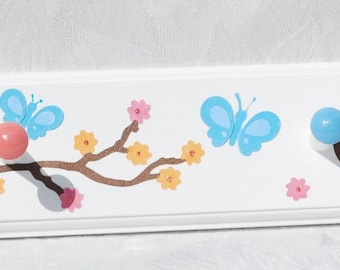 Girl's Personalized Coat Hooks . Cherry Blossom in Pink Tangerine Teal . Charlotte . With Butterflies