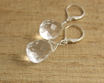 Earrings with Clear Faceted Crystal Teardrops HE-12