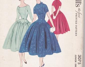 1950s McCall's 3075 (Jr13-B31) 1-Piece Dress Pattern Close Fitting, Drop Waist, Full Skirt Petal Shaped Yoke 1954 Vintage Sewing Pattern 50s