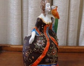 Vintage Wall Pocket Lady Victorian Flower Vase Orange Brown Moriage Slip Decoration Parrot