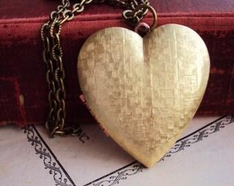 Vintage Large Heart Locket Necklace Brass Copper Antique Ox Brass Long Chain Basket weave Heart Photo Locket