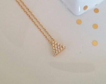 CZ Triangle Pyramid Charm Necklace. Strength. Clarity. Layer. Dainty. Delicate. Cz necklace. Gift. Pyramid. Geometric  Minimalist