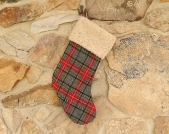 Christmas Stocking Wool Plaid, Personalized