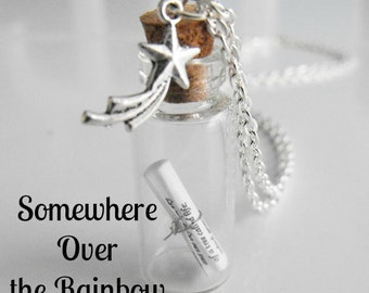 Somewhere Over the Rainbow Message in a Bottle Necklace