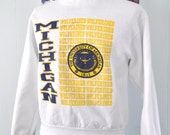 Vintage Sweatshirt University of Michigan Wolverines 80s White Yellow Gold Short Medium