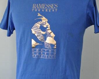 1987 Vintage Tshirt Ramesses Egypt Boston Royal Blue Gold Metallic Print Tee MEDIUM