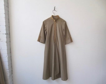 vintage 70s/80s khaki twill bell sleeve tunic dress
