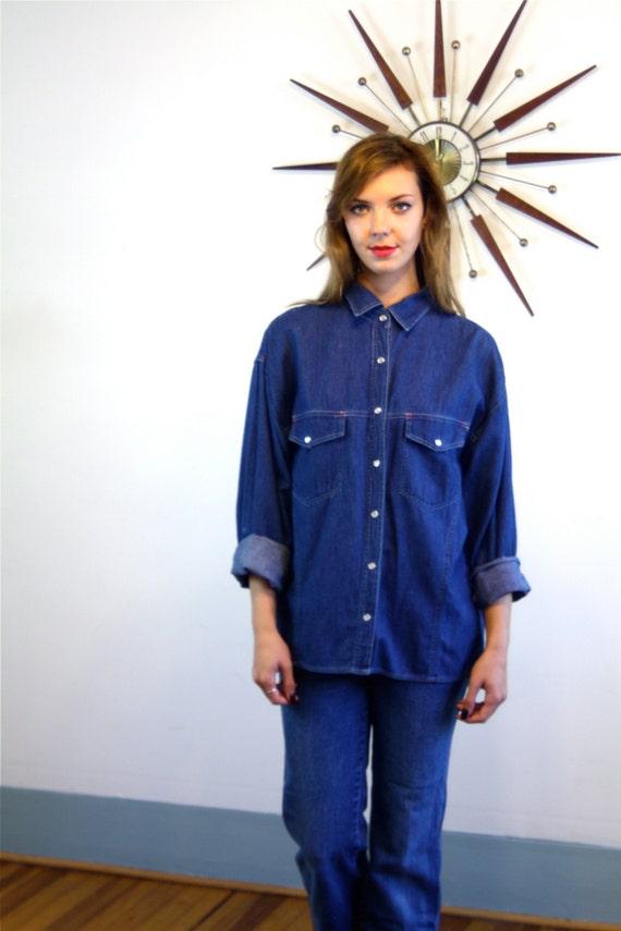 Vintage 80s SASSON Denim Shirt, Western Style Dark Blue Jean Top, Chambray & Plaid shirt, Long Sleeve Pearl Snap Blouse, Women's Size L