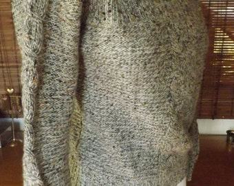 Vintage 80s Chunky Grey and Confetti Cable Knit Sweater M L Free US Shipping