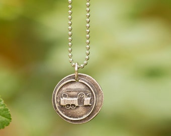 Camper Necklace/ Airstream Camper Jewelry/ Wax Seal Pendant/ Travel Jewelry/ Handmade in America