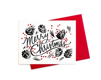 Mid-Century Merry Christmas Pinecones Christmas Card, Black and White Pinecones with Red Berries