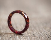 Thin Marsala Resin Ring Stacking Ring Copper Gold Flakes Small Faceted Skinny Ring OOAK Burgundy Red geometric jewelry
