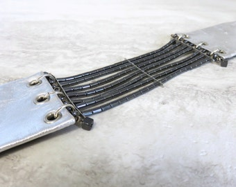 Large Choker with Gunmetal Grey Hematite & Leather (Silver, or Black)-Edgy Rocker Chic Jewelry by Sharona Nissan
