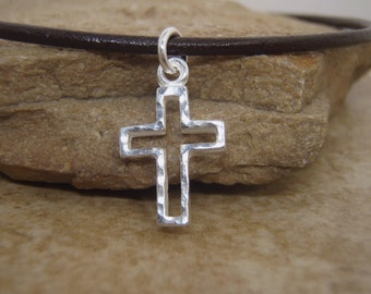 Boy's Cross necklace - Boy's First Communion cross - Hammered Sterling Silver Cross - Jewelry for Boys - Photo NOT actual size