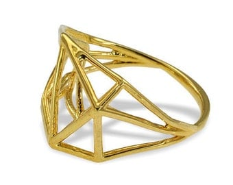 14K Geometric Ring, Gifts for Her, 3D Ring in 14K Gold, Architecture Structure Ring, 14K Gold Ring, Unique Engagement Ring,  Free Shipping