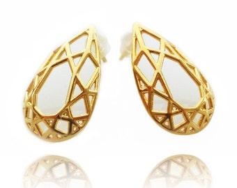 Pear Shaped Earrings, Geometric Brass Earrings, Bridal Earrings, Stud Earrings, Contemporary Brass Earrings, Drop Shape Earrings, For Her