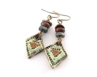 Green and Brown Ceramic Earrings - Ceramic Earrings - Artisan Earrings - Boho Earrings - Antique Brass Earrings - Brass Earrings - AE122
