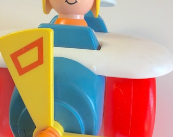 Vintage Fisher Price Helicopter Pull Toy 1980 171 Classic Toddler Toy Baby Toy
