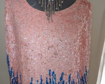 vintage sequin top, all sequinned top, all sequin top, pink sequin top, blue sequin top, pink evening top, retro sequin top,
