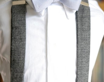 Set of suspenders bow tie and pleated shorts