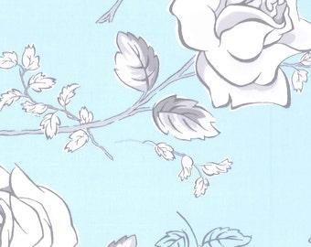 "Blue Sketch Roses Cotton Sateen, Gertie by Gretchen Hirsch Fabric, 43"" wide, 1 yard"