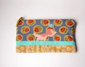 """Zipper Pouch, 5.5x9"""" in Gray, Aqua, Gold, Peach, Green and Red flowers with Handmade Felt Dog and Bird Embellishment, Dog Pencil Case"""
