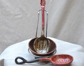 Handmade Ceramic Spoon - Colander - Kitchen Strainer - Ceramics and Pottery - Kitchenware - by Zen Ceramics.