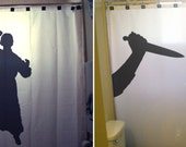 Crazy Psycho Shower Curtain Scary Halloween Horror Killer Stab Knife bathroom kids decor bath