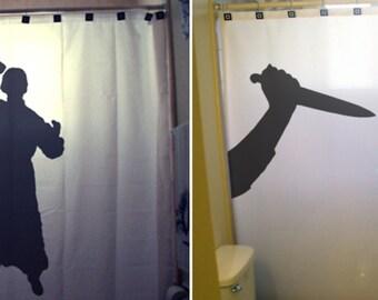 Crazy Psycho Shower Curtain Scary Halloween Horror Killer Stab Knife bathroom kids decor bath