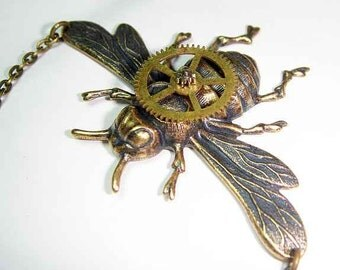 Steampunk Hardware Bumble Bee Necklace