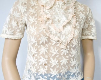 1930s Net Lace Blouse Short Sleeve Ruffle Sheer Blouse Size Small