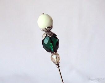 Emerald Green Stick Pin, 3 Inch Hat Pin, Scarf Pin, Hijab Pin H0353