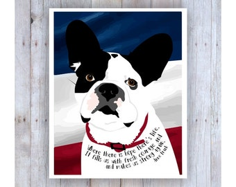 Anne Frank Quote, French Bulldog Art, French Bulldog Decor, French Bulldog Print, French Bulldog Gift, French Bulldog Wall Art