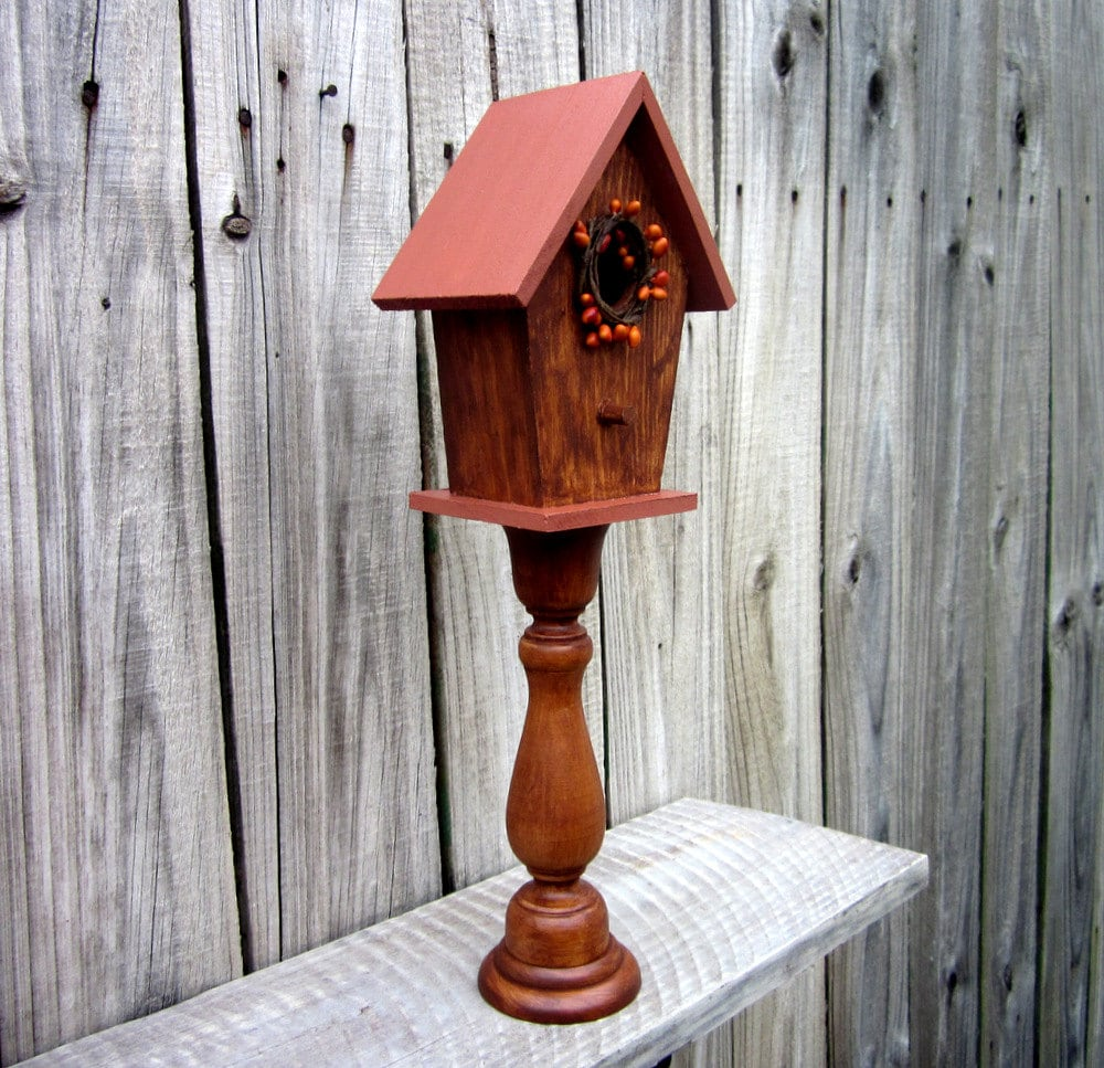 birdhouse decorative pedestal rustic indoor birdhouse. Black Bedroom Furniture Sets. Home Design Ideas