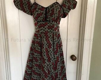 1950s Stunning CAMPUS JUNIORS Black Red White Eyelet Sleeveless Party Dress with Matching Bolero XS