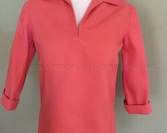 1950s Salmon Pink Pullover Top Rolled Collar Three Quarter Sleeves Textured Cotton-XS S