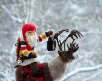 Needle Felted Hudson Bay Reindeer Caribou and Santa - Needlefelted Wool Animal Soft Sculpture by McBride House
