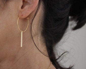 Gold Bar Hoop earrings - minimal and modern danglys