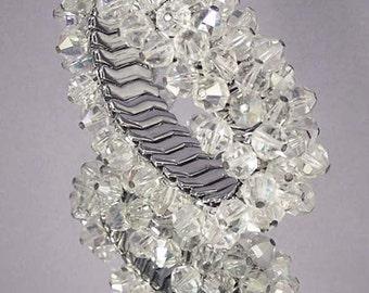 Vintage Crystal Bead Cha Cha Bracelet / Expansion Bracelet / Wedding Bracelet / Bridal Bracelet / Wedding Jewelry / Bridal Jewelry
