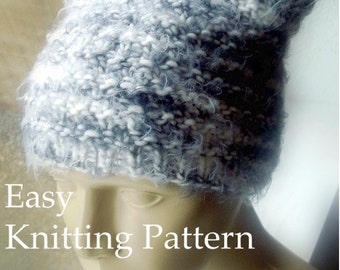 DIY Beanie Knitting Pattern Easy Hat Tutorial with Kawaii Textured Ears Knit Easy Circular Knitting Sell What You Make PDF Instant Download