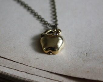 Autumn Fashion - Apple Necklace - Teacher Necklace - Winter Fashion