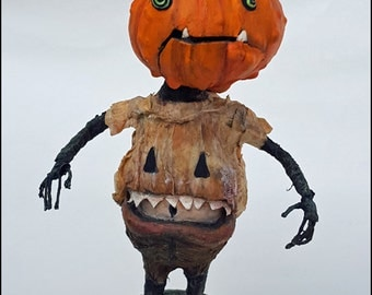 Halloween Art Doll Pumpkin Head