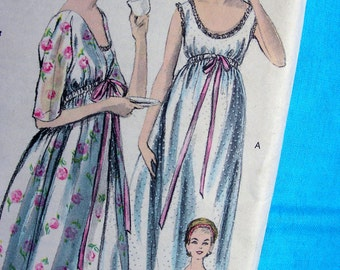 1960s  Vogue  Pattern 5830  // Ladies Empire Waist  Nightgown and Peignoir Housecoat Robe  * Size 14 - Bust 34 - FF - Easy to Make