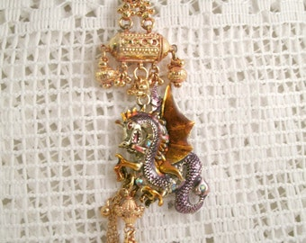 Golden Dragon Color Enameled Necklace with crystals and Repurposed Gold plated jewelry Pieces