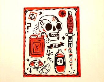 Tattoo Flash Linocut Print