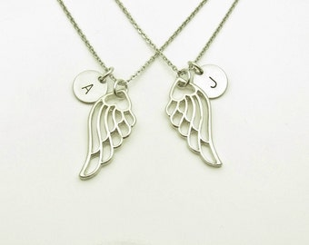 Wing Necklaces, Pair of Wings Necklaces, Best Friend Necklaces, Personalized, Initial Necklaces, Angel Wings, His and Hers Necklaces Y302